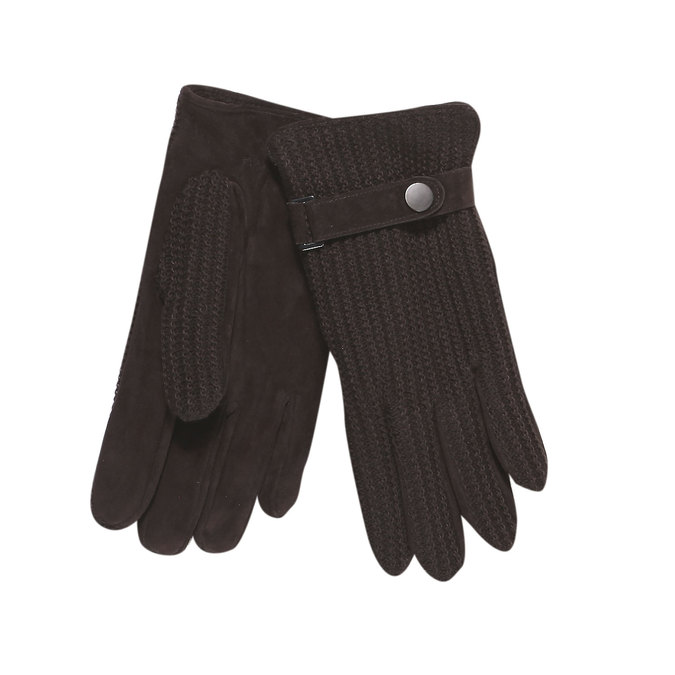 Men´s gloves with knit, brown , 909-4295 - 13