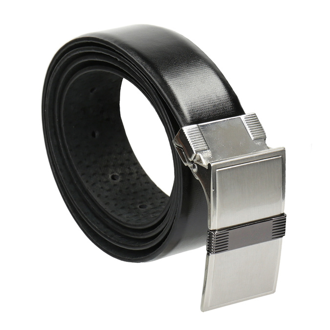 Men's Leather Belt with Square Buckle, black , 954-6140 - 13