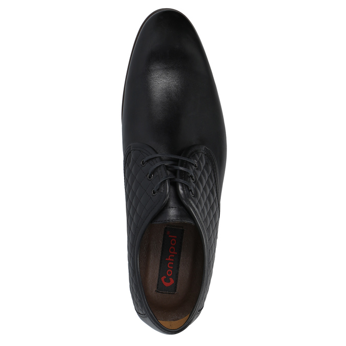 Leather ankle shoes with stitching conhpol, black , 824-6737 - 19
