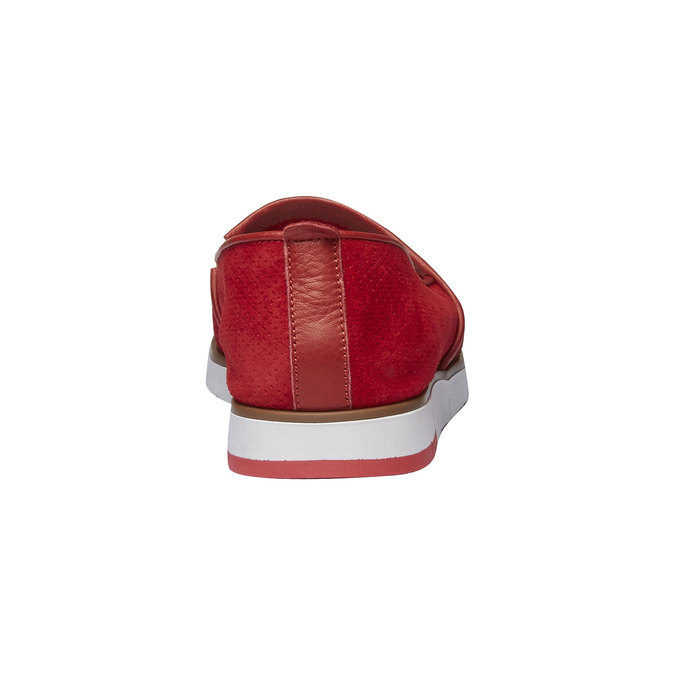 Leather Slip-ons with perforations flexible, red , 513-5200 - 17