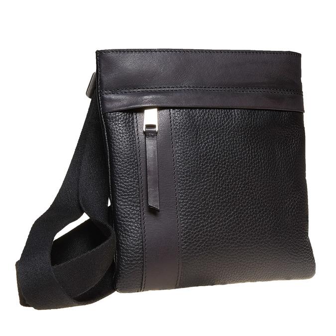 Leather cross body bata, black , 964-6131 - 13