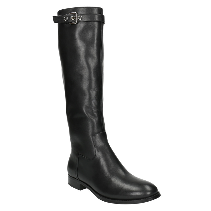 Ladies' leather high boots with a buckle bata, black , 596-6630 - 13