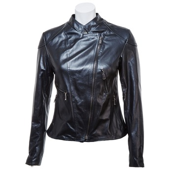 Ladies' leather jacket with zips bata, black , 974-6162 - 13
