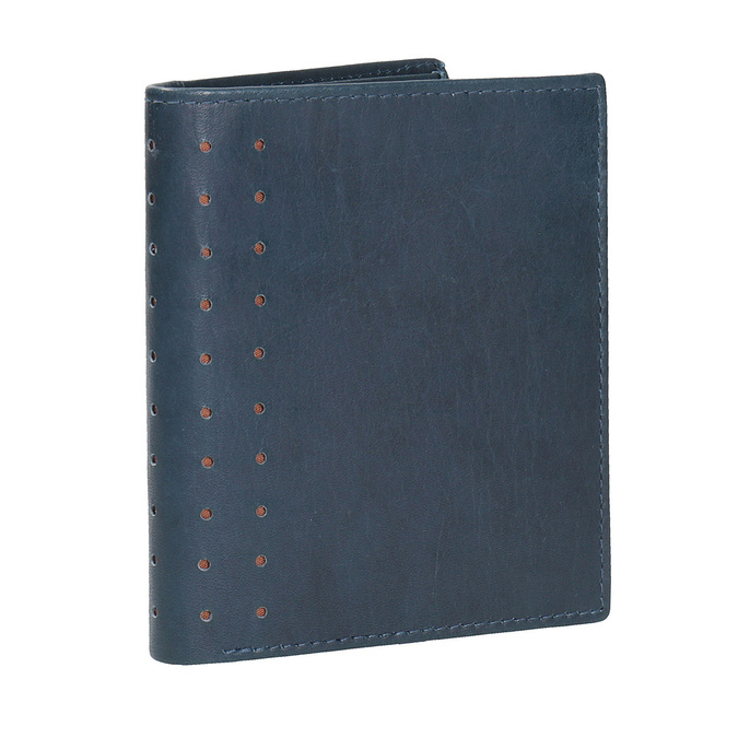 Leather wallet with perforations bata, blue , 944-9175 - 13
