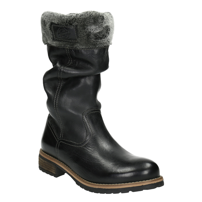 Children's leather high boots mini-b, black , 394-6191 - 13