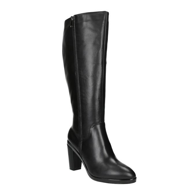 Leather high boots for broader calves bata, black , 694-6635 - 13