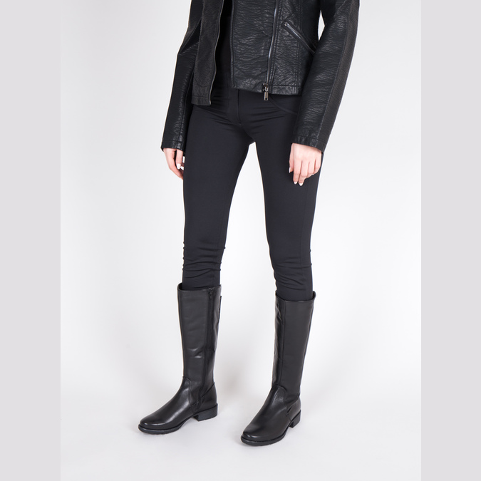 H-width black leather Cossacks bata, black , 596-6611 - 18