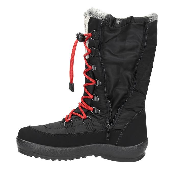 Ladies' black snow boots with fur weinbrenner, black , 599-6612 - 19