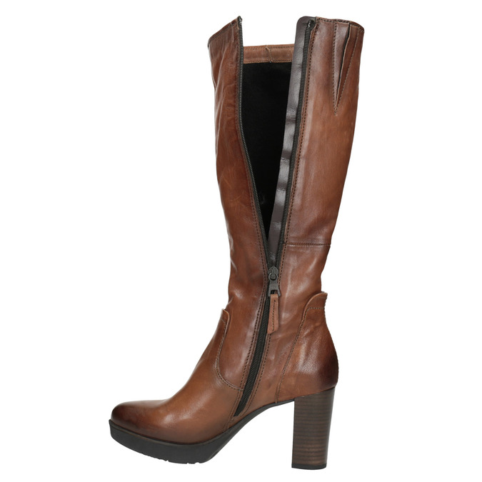 Ladies' leather heeled high boots bata, brown , 796-4643 - 19