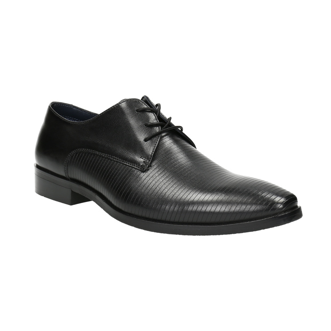 Black leather Derby shoes bata, black , 826-6804 - 13
