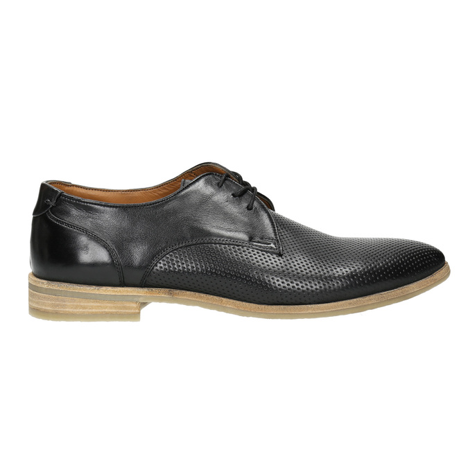 Black leather shoes with a light sole bata, black , 824-6807 - 15