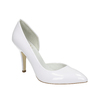 White pointed leather pumps, white , 728-1635 - 13