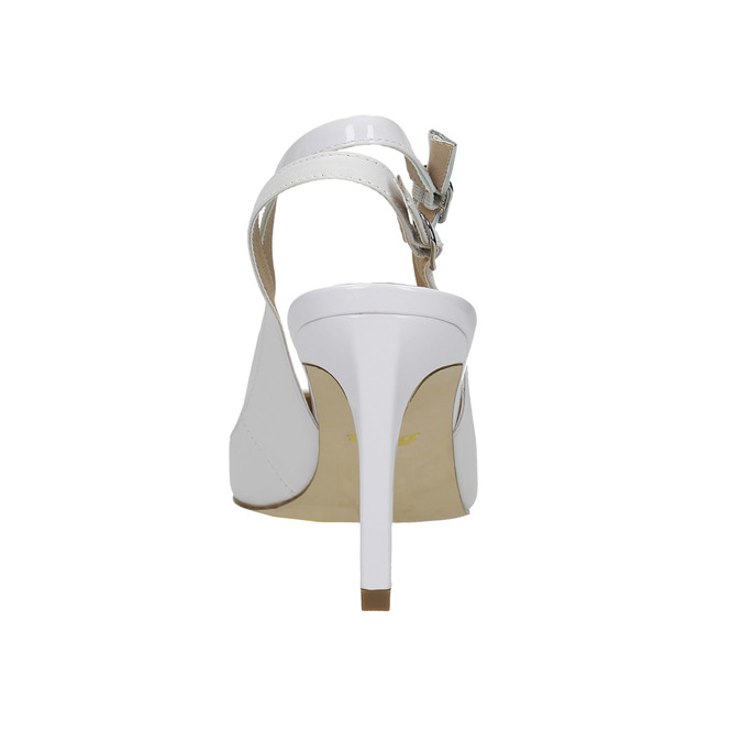 White leather pumps with open heel insolia, white , 724-1634 - 17