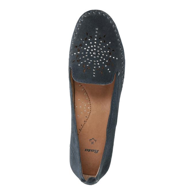Ladies' leather H-width moccasins bata, blue , 523-9603 - 19