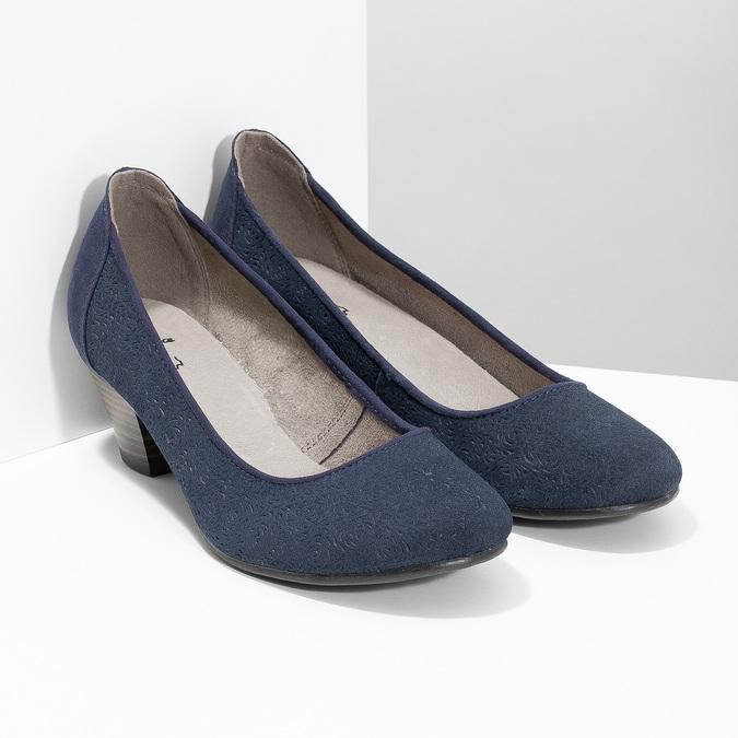 Leather pumps width H bata, blue , 623-9602 - 26
