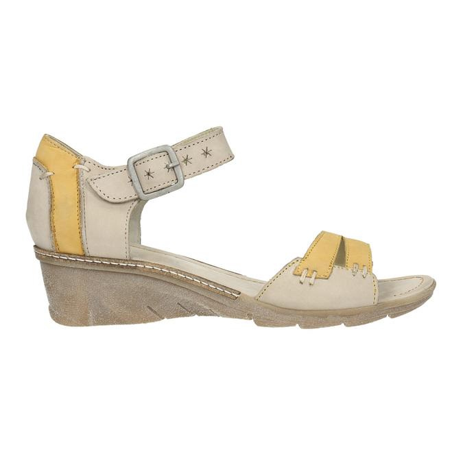 Leather wedge-heel sandals bata, gray , 626-2642 - 15