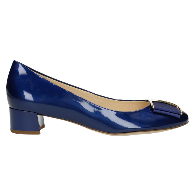 Leather pumps with bow hogl, blue , 628-9400 - 15