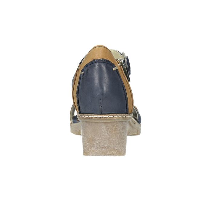 Leather wedge-heel sandals bata, blue , 626-9642 - 17