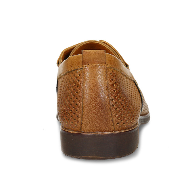 Casual leather shoes with perforations, brown , 856-3601 - 15