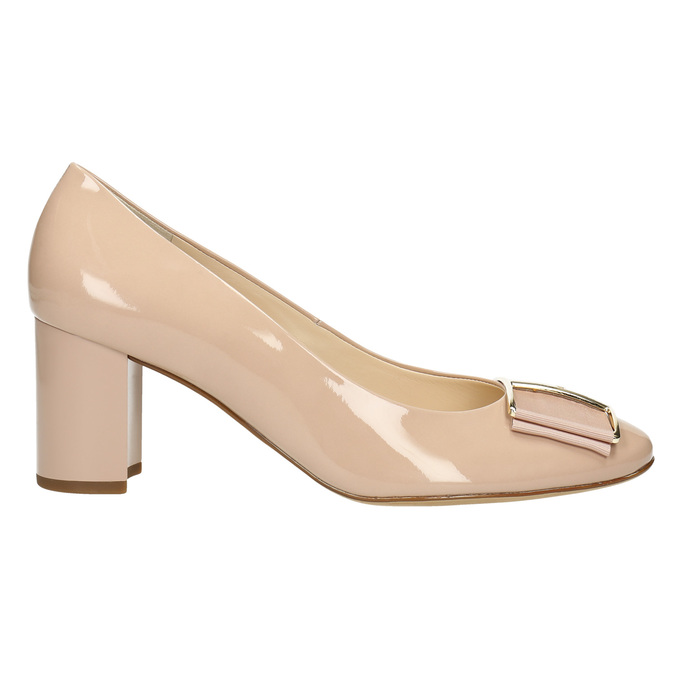 Leather pumps with bow hogl, pink , 728-8401 - 15