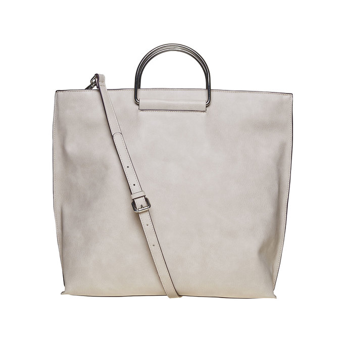 Ladies' cream handbag bata, gray , 961-8327 - 26