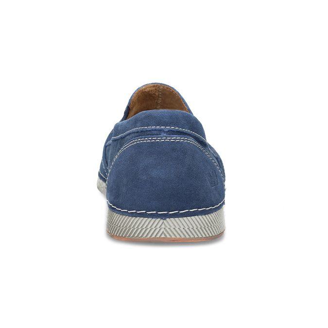 Brushed leather Slip-ons weinbrenner, blue , 833-9601 - 15