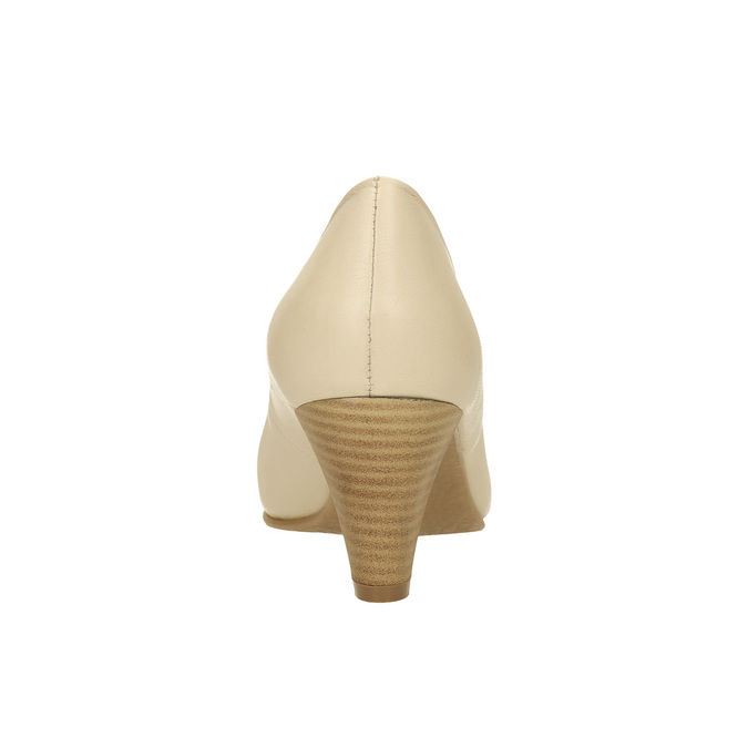 Leather pumps on a tapered heel bata, beige , 624-1600 - 17