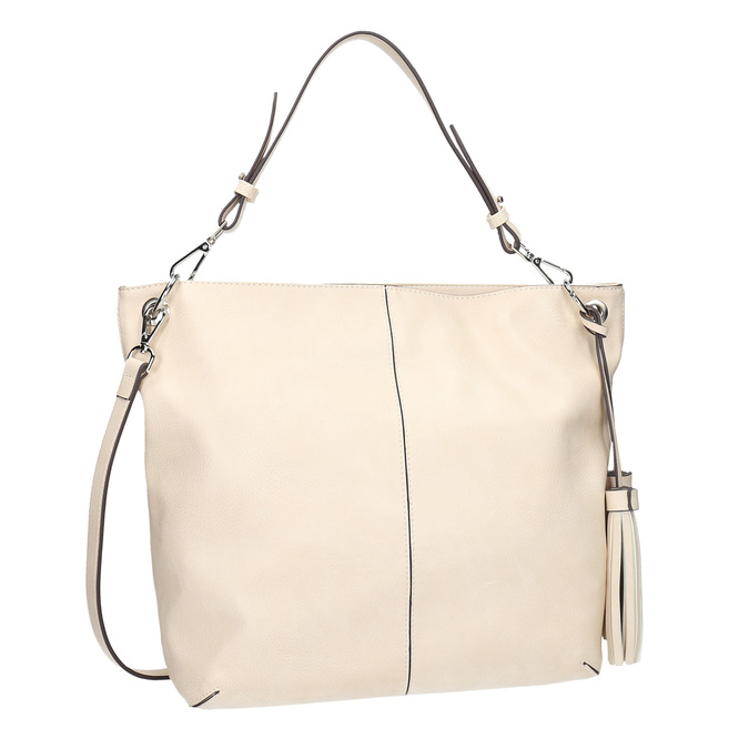 Handbag with tassels bata, beige , 961-8703 - 13