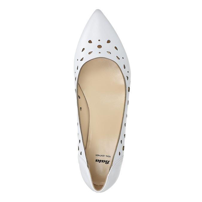 White leather ballet pumps bata, white , 524-1604 - 26