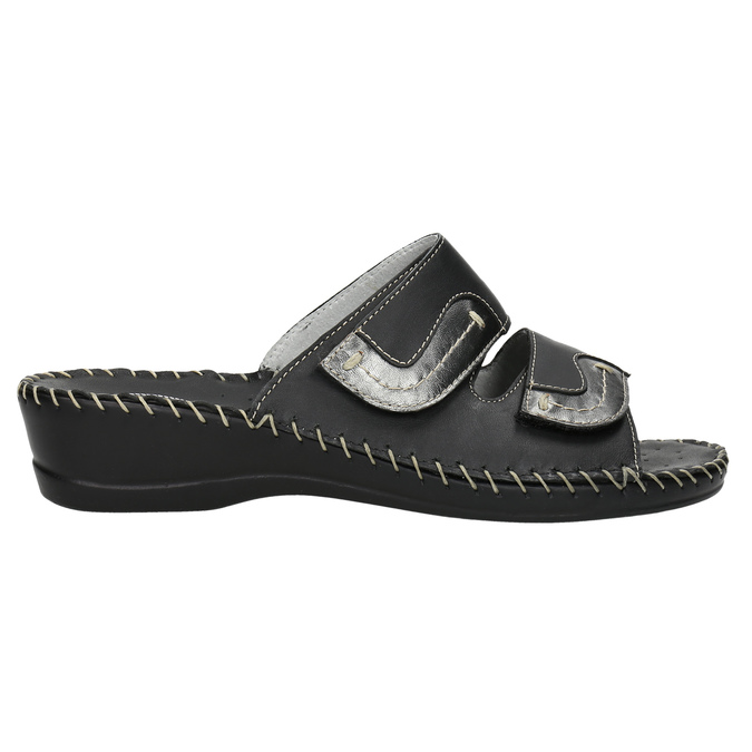 Leather slippers, black , 674-6600 - 15