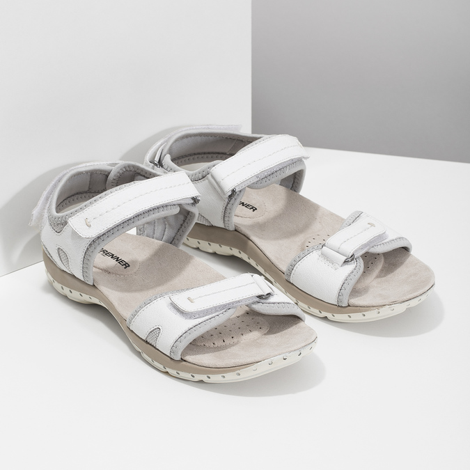 Ladies' leather sandals weinbrenner, white , 566-1608 - 26