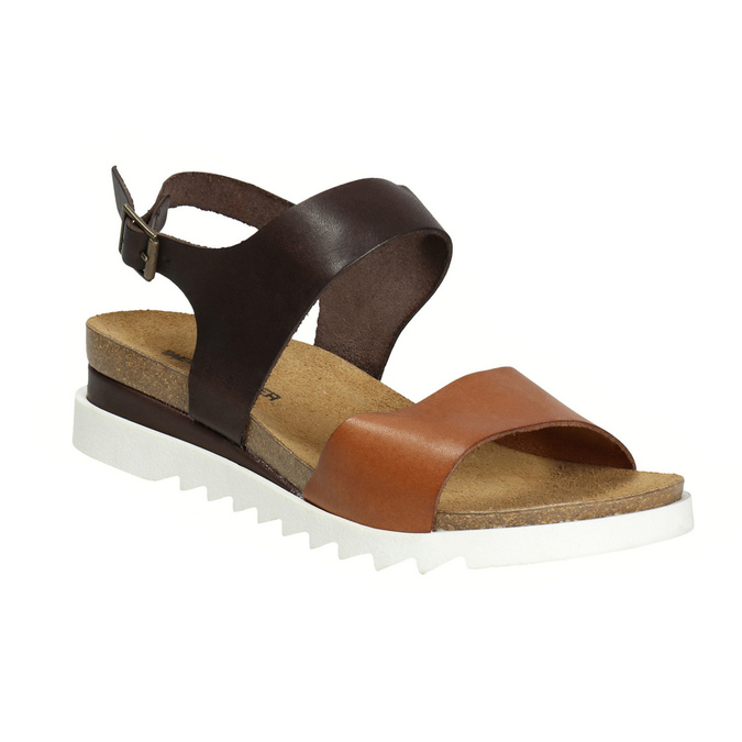 Leather sandals with a white sole weinbrenner, brown , 566-4629 - 13