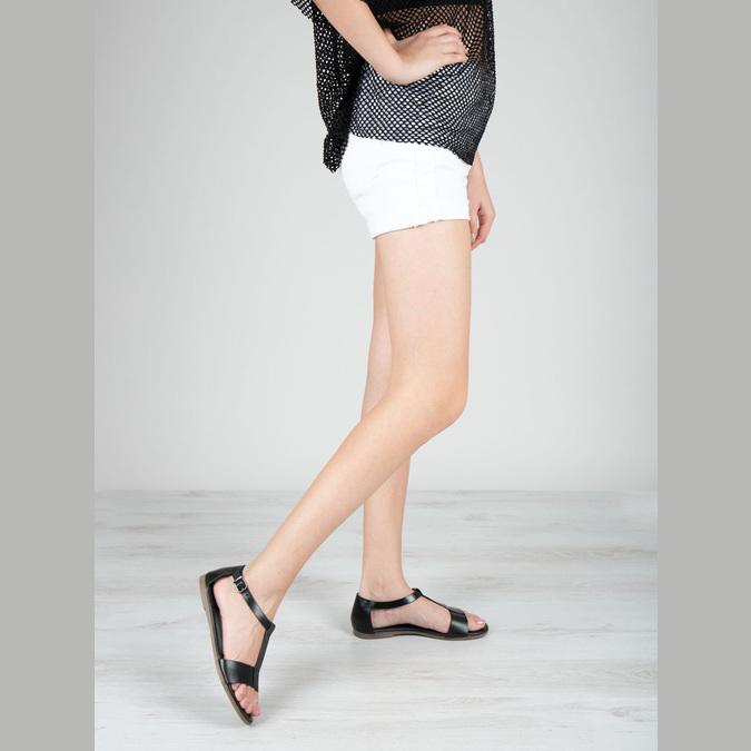 Black leather sandals bata, black , 564-6600 - 18