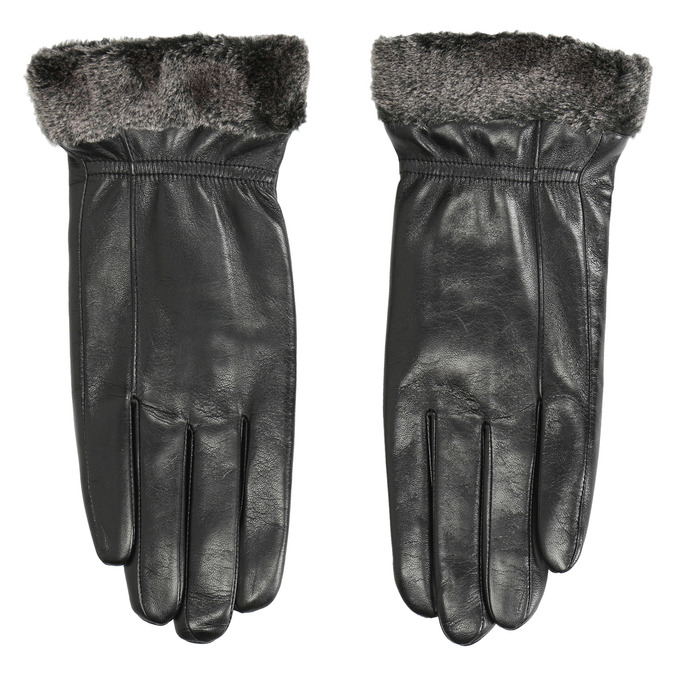 Ladies' leather gloves with fur, black , 904-6112 - 26
