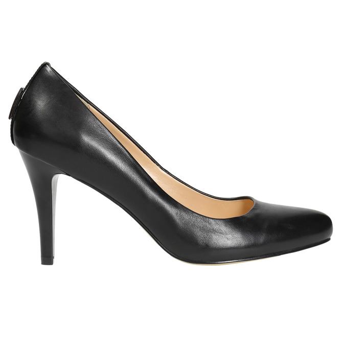 Ladies' leather pumps, black , 724-6649 - 15