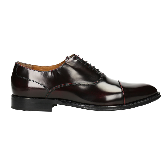 Leather Oxford shoes burgundy bata, red , 826-5671 - 26