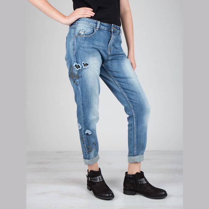 Ladies' studded high ankle boots bata, black , 596-6658 - 19