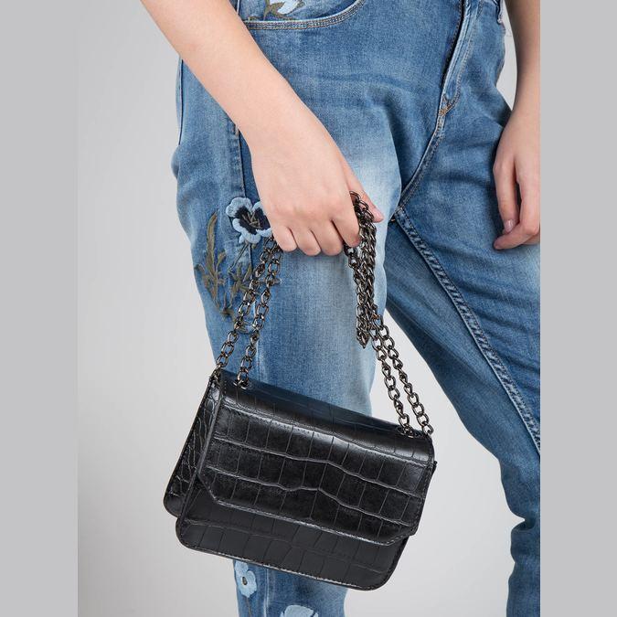 Ladies' handbag with a chain bata, black , 961-6753 - 17