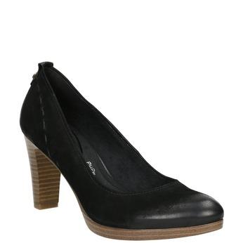 Leather platform pumps pillow-padding, black , 726-6646 - 13