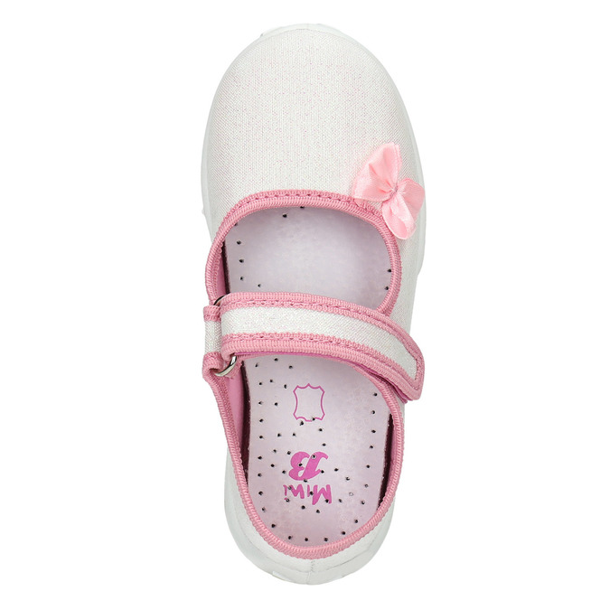 Kids' slippers with a bow mini-b, white , 379-1214 - 19