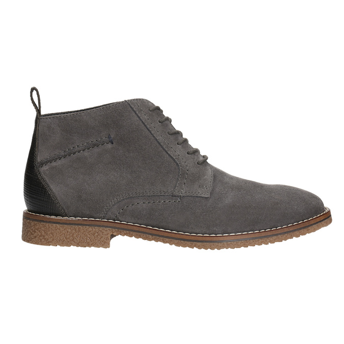 Men's leather ankle boots bata, gray , 823-2615 - 15