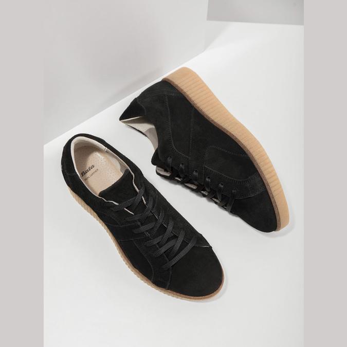 Leather sneakers with distinctive flatform bata, black , 523-6604 - 19