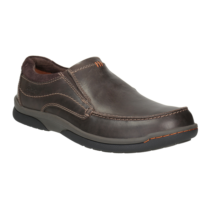 Men's Leather Moccasins with Stitching clarks, brown , 816-4022 - 13
