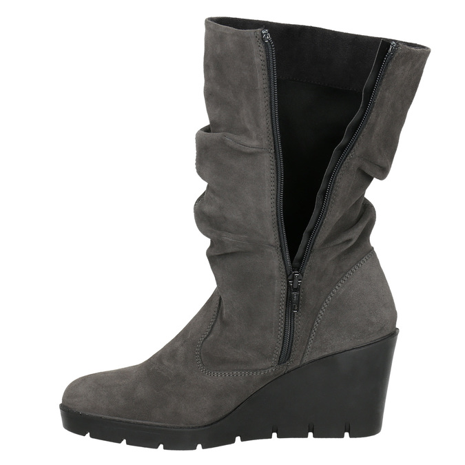Ladies' High Boots with Wrinkling bata, gray , 796-2646 - 26