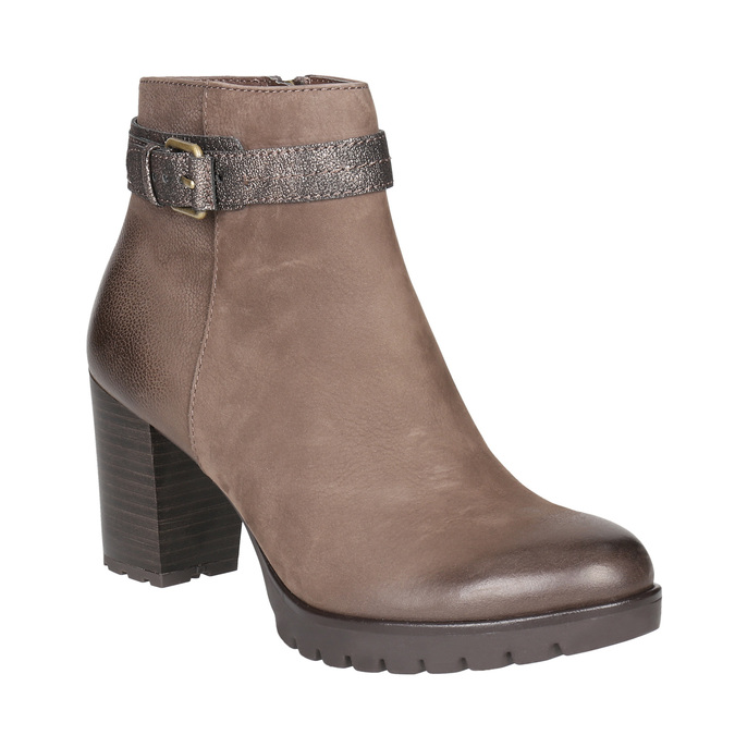 Ladies' high ankle boots with buckle bata, brown , 796-4644 - 13