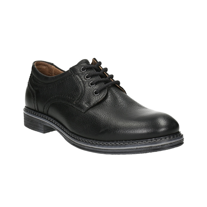 Men's leather Derby shoes bata, black , 824-6926 - 13