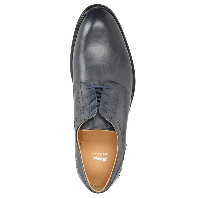 Men's blue leather shoes bata, blue , 826-9913 - 26