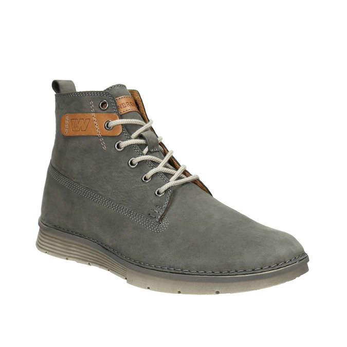 Men's leather ankle boots weinbrenner, gray , 846-2656 - 13