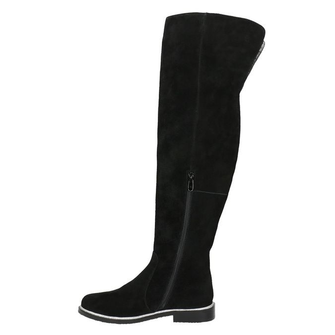 Brushed leather over-knee high boots bata, black , 593-6605 - 26