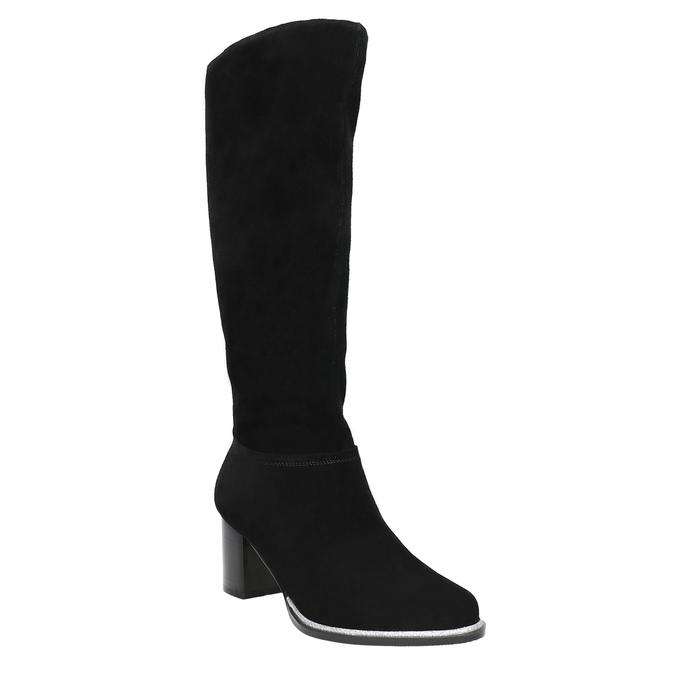 Black brushed leather high boots bata, black , 693-6603 - 13